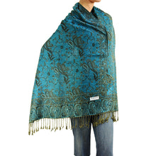 Load image into Gallery viewer, Women's Paisley Pashmina Scarf - Turquoise
