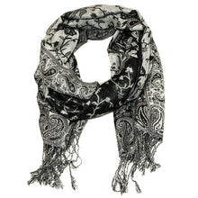 Load image into Gallery viewer, Women's Paisley Pashmina Scarf - Black Grey White