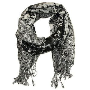 Women's Paisley Pashmina Scarf - Black Grey White