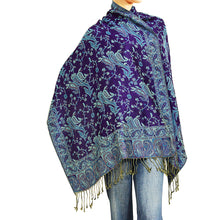 Load image into Gallery viewer, Women's Paisley Pashmina Scarf - Dark Purple Turquoise