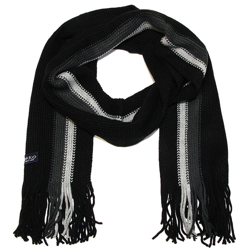 Men Striped Knitted Winter Scarf - Black