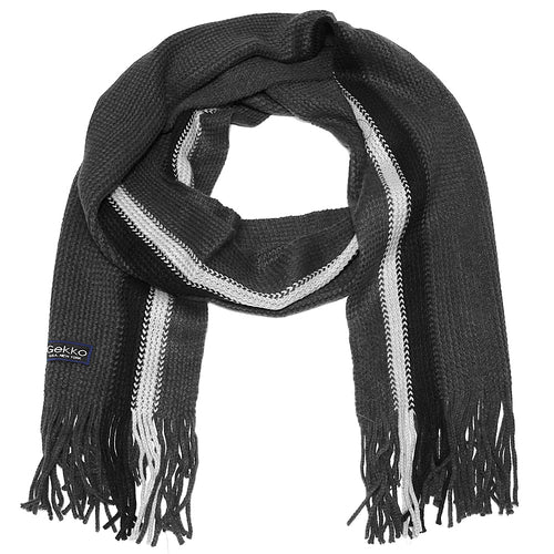 Men Striped Knitted Winter Scarf - Dark Grey