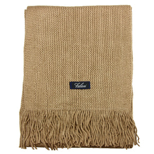 Men Solid Knitted Winter Scarf - Beige