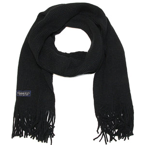 Men Solid Knitted Winter Scarf - Black