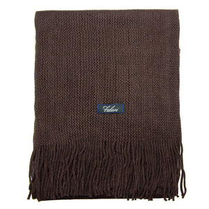 Men Solid Knitted Winter Scarf - Brown