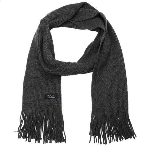 Men Solid Knitted Winter Scarf - Dark Grey
