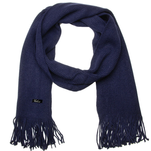 Men Solid Knitted Winter Scarf - Navy