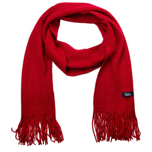 Men Solid Knitted Winter Scarf - Red