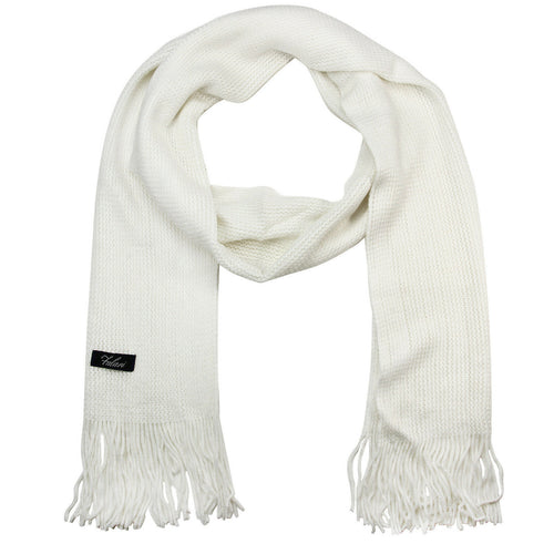 Men Solid Knitted Winter Scarf - White