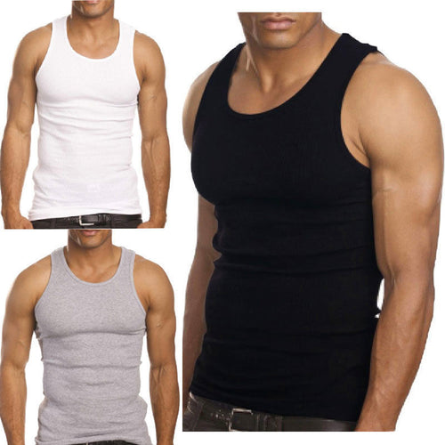 3-Pack Men's A-Shirt Tank Top Gym Workout Undershirt
