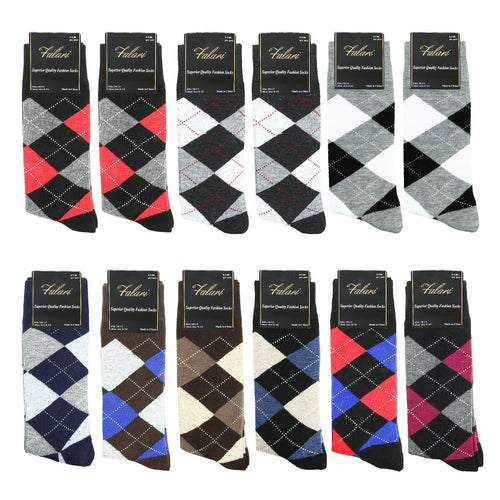 12 Pairs Argyle Casual Dress Socks