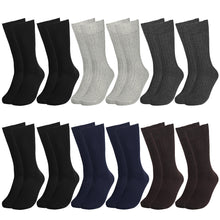 Load image into Gallery viewer, 12 Pairs Solid Color Ribbed Casual Dress Socks