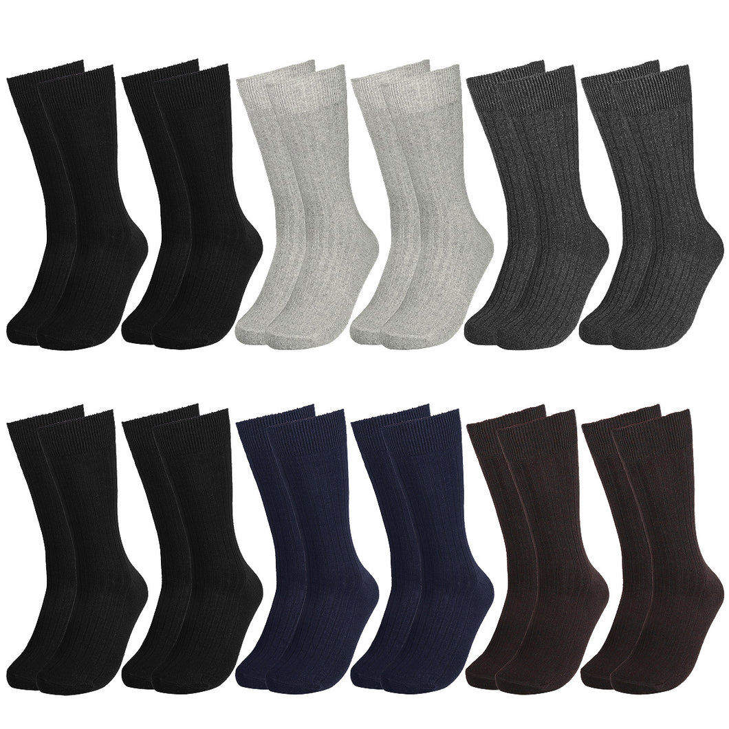 12 Pairs Solid Color Ribbed Casual Dress Socks