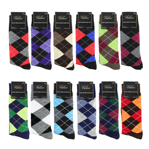 12 Pairs Assorted Argyle Casual Dress Socks