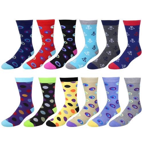 12 Pairs Colorful Funky Casual Dress Socks