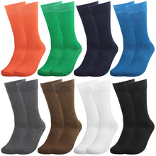 Load image into Gallery viewer, Falari Men 8 Pairs Colorful Solid Novelty Crazy Combed Casual Dress Socks 931