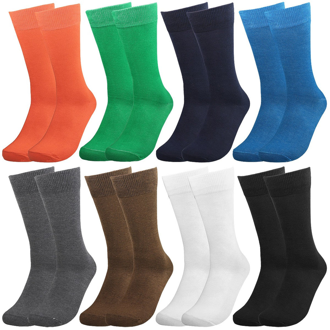 Falari Men 8 Pairs Colorful Solid Novelty Crazy Combed Casual Dress Socks 931