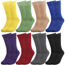 Load image into Gallery viewer, Falari Men 8 Pairs Colorful Solid Novelty Crazy Combed Casual Dress Socks 932