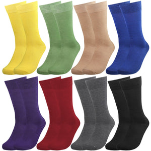 Falari Men 8 Pairs Colorful Solid Novelty Crazy Combed Casual Dress Socks 932