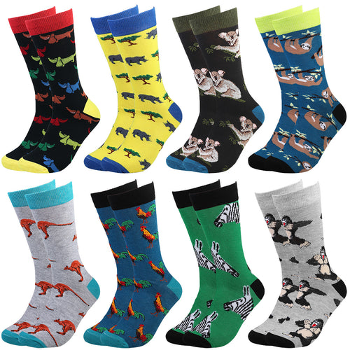 Falari Men 8 Pairs Colorful Novelty Crazy Combed Casual Dress Socks