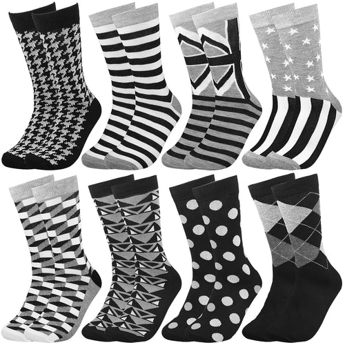 Falari Men 8 Pairs Black Grey White Novelty Crazy Combed Casual Dress Socks
