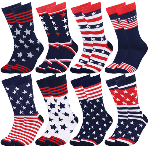 Falari Men 8 Pairs Patriotic Casual Dress Socks