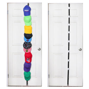 Baseball Cap Rack Holder Over The Door Adjustable Size Multi-Purpose Organizer