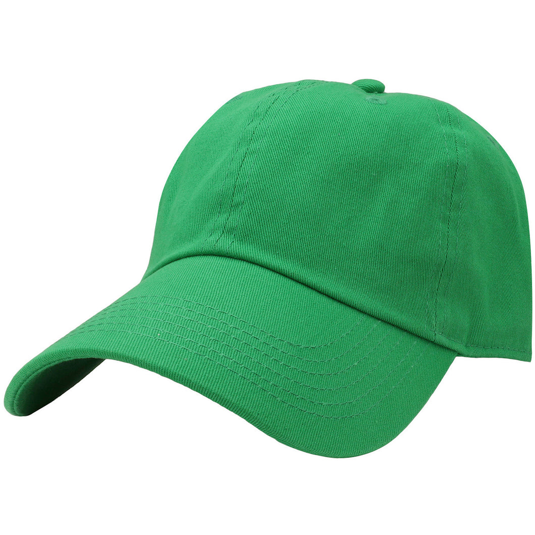 Classic Baseball Cap Soft Cotton Adjustable Size - Kelly Green