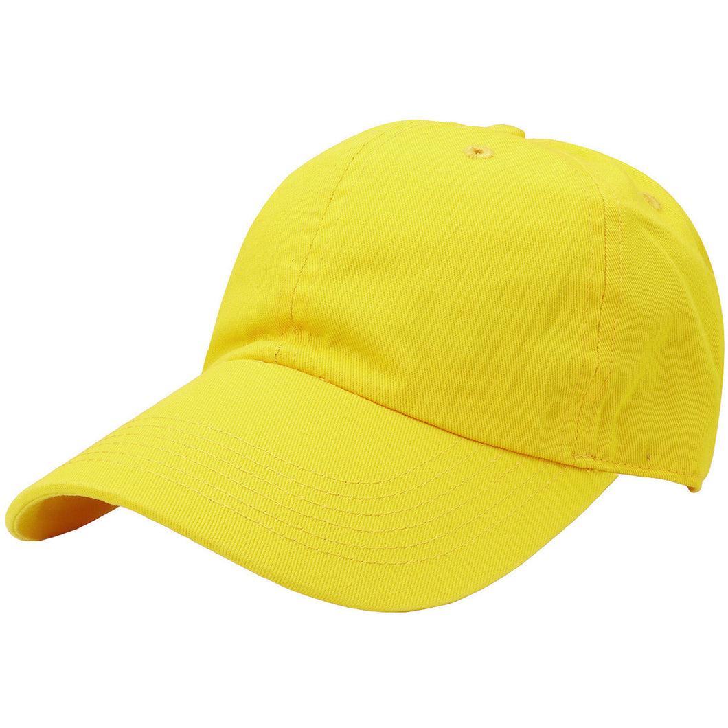 Classic Baseball Cap Soft Cotton Adjustable Size - Yellow
