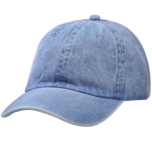 Classic Baseball Cap Soft Cotton Adjustable Size - Light Blue Denim