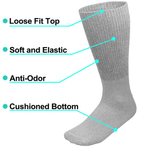 Physicians Approved Diabetic Socks Crew Unisex 6-Pairs