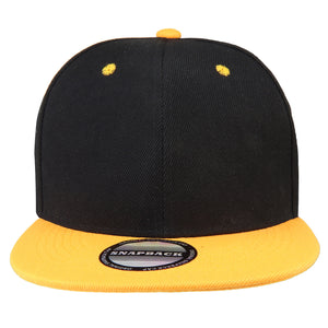 Hip Hop Style Snapback Hat Flat Bill Adjustable Size - Black/Gold