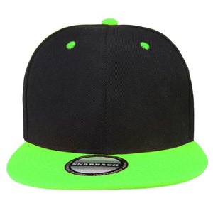 Hip Hop Style Snapback Hat Flat Bill Adjustable Size - Black/Green