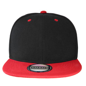 Hip Hop Style Snapback Hat Flat Bill Adjustable Size - Black/Red