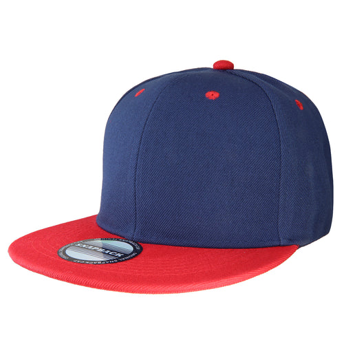 Hip Hop Style Snapback Hat Flat Bill Adjustable Size - Navy/Red