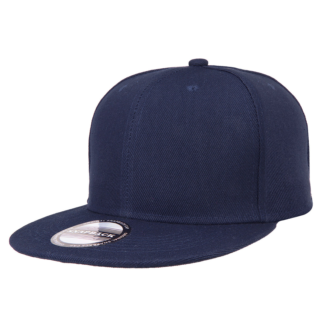 Hip Hop Style Snapback Hat Flat Bill Adjustable Size - Navy