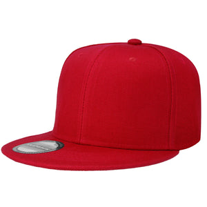 Hip Hop Style Snapback Hat Flat Bill Adjustable Size - Red