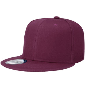 Hip Hop Style Snapback Hat Flat Bill Adjustable Size - Wine