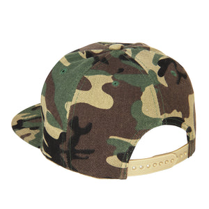 Hip Hop Style Snapback Hat Flat Bill Adjustable Size - Woodland Camouflage