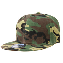 Load image into Gallery viewer, Hip Hop Style Snapback Hat Flat Bill Adjustable Size - Woodland Camouflage