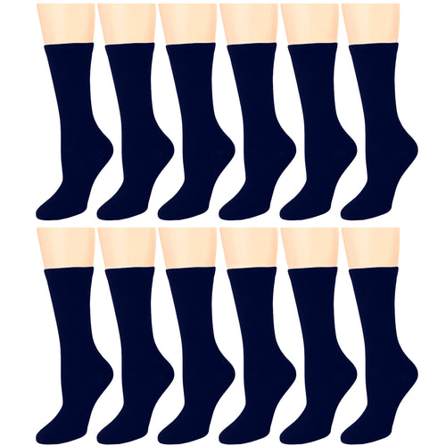 12-Pack Women's Crew Socks Navy