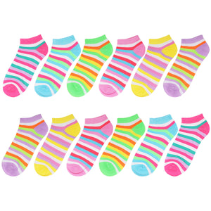 12-Pack Argyle Women's Ankle Socks Multicolor Striped