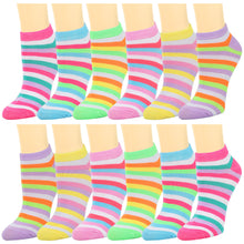 Load image into Gallery viewer, 12-Pack Argyle Women's Ankle Socks Multicolor Striped