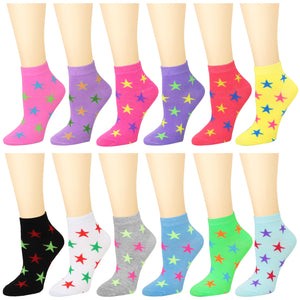 12-Pack Women's Ankle Socks Stars