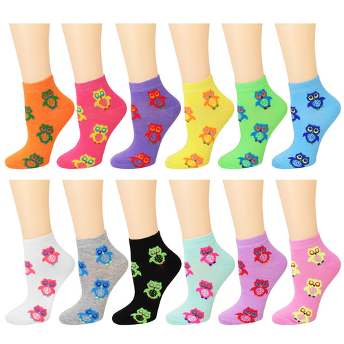 12-Pack Owl Women's Ankle Socks