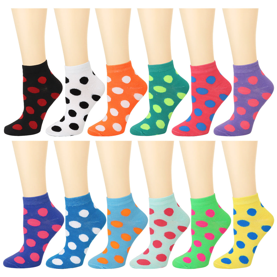 12-Pack Polka Dot Women's Ankle Socks