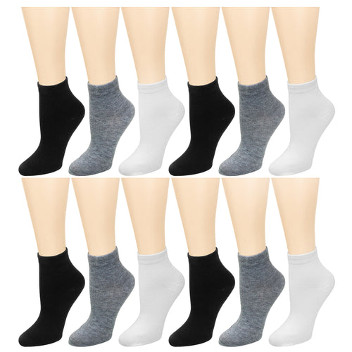 12-Pack Women's Ankle Socks Black Grey White