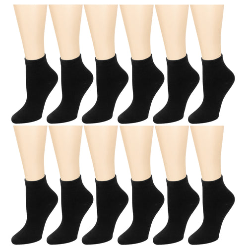 12-Pack Women's Ankle Socks Black