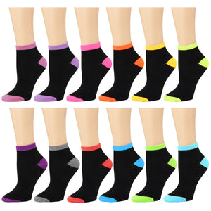 12-Pack Two-Tone Women's Ankle Socks