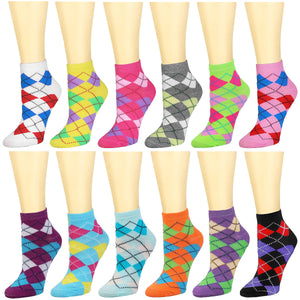 12-Pack Argyle Women's Ankle Socks